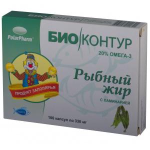 "Рыбий (рыбный) жир ""БиоКонтур"" с ламинарией, 100 капсул"