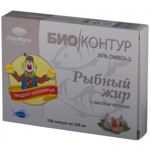 """Рыбий (рыбный) жир """"БиоКонтур"""" с маслом чеснока, 100 капсул"""