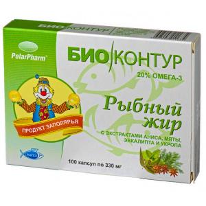 """Рыбий (рыбный) жир """"БиоКонтур"""" с экстрактами аниса, мяты, эвкалипта и укропа, 100 капсул"""